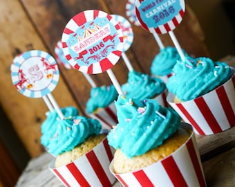 Carnival Cupcake Toppers and Cupcake Wrappers - Carnival Printables - Instant Download and Edit File at home with Adobe Reader