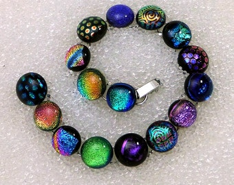 "Dichroic Glass Bracelet in 16 Cha-Cha Power Colors 7 1/4"", 16 links"