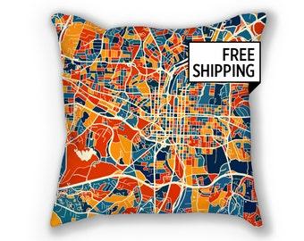 Raleigh Map Pillow - North Carolina Map Pillow 18x18