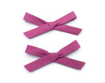 Violet Purple Dark Magenta,Fabric Hand Tied Pigtail Bows / Schoolgirl Bows / Hand Tied Bow Set / Sailor Bows / Magenta Purple Sailor Bow Set