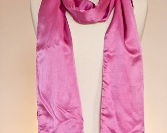 Fuschia pink silk satin and cotton scarf