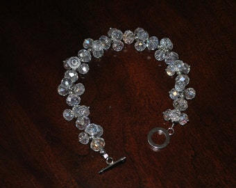 Handmade Clear Glass Beaded Bracelet