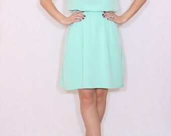 SALE Mint green bridesmaid dress Short dress Chiffon dress Keyhole dress