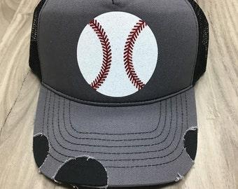 Glitter Baseball Distressed Trucker Hat Customized Personalized Trucker Hat Foam Mesh Women's