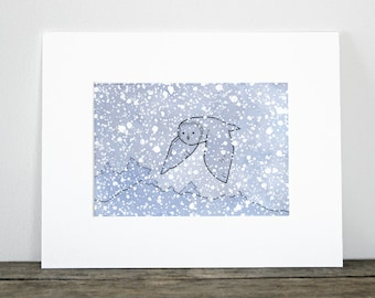 Great Gray Owl in Snow Art Print - whimsical animal art painting, kids room wall art