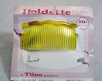 Very Cool 1960s Vintage Yellow Plastic Hair Comb