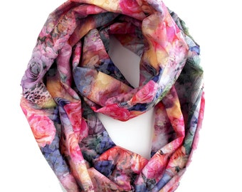 Cotton Infinity Scarf with Roses - Pink Rose Scarf - Floral Loop Scarf - 50% off
