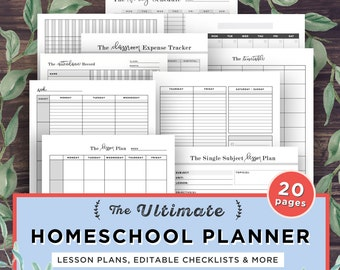 Homeschool Planner Printable, School Planner, Mom, Teacher Planner, Lesson Planner, Curriculum, Homeschooling, Binder, Academic Agenda, PDF