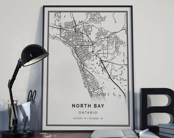 North Bay map poster print wall art | Ontario gift printable download | Modern map decor for office, home and nursery | MP404