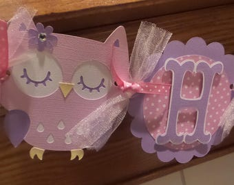 Pink and Lavendar Owl 1st Birthday Banner, Spring Owl banner, Polka dots and chevron owl birthday banner, Matching Tissue Poms Are available
