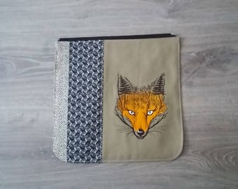 Fox Bag flap for LARGE messenger bag, changeable flap collection**FLAP ONLY**