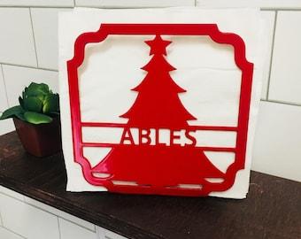 Christmas Tree Metal Napkin Holder - Christmas Decor - Personalized Christmas Gift - Personalized Metal Decor - Personalized Metal Art