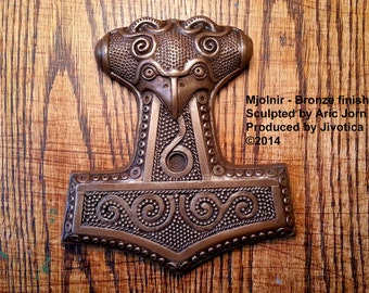 Mjolnir: Thor's Hammer with BRONZE finish. Cold cast metal Norse/Viking wall plaque