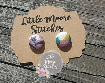 Mauve Floral Fabric Button Earrings