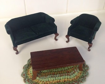 Dollhouse velvet living room furniture set