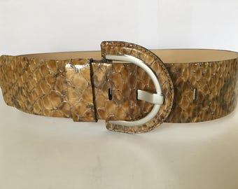 Beautiful Women's /Jrs Banana Republic Animal Print Wide Brown Tones Leather Belt Sz XS 26-28 Made in Italy