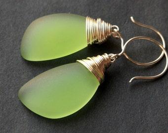 Spring Green Seaglass Earrings. Green Earrings. Spring Green Sea Glass Earrings. Wire Wrapped Wing Earrings. Handmade Jewelry.