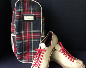 Vintage Brunswick Ladies Tan Bowling Shoes with Tartan Shoe Bag, Footwear, Athletic Shoes