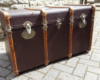 FURTHER REDUCED - Vintage Travel Trunk / Vintage Steamer Trunk / FrenchTrunk / Large Travel Trunk / Wood Trunk / Banded Trunk / Travel Chest