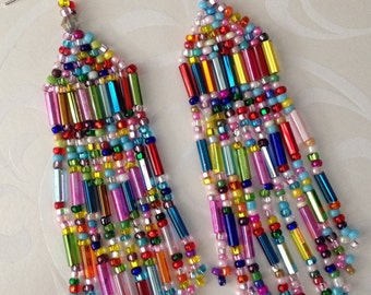 Super Long Beaded Confetti Fringe Seed Bead Earrings - Beadwork Jewelry