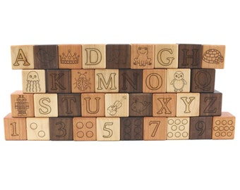 Deluxe ABC 123 Wooden Blocks Wooden Toy Blocks Building Blocks Wood Blocks Toy Blocks Alphabet Blocks Baby Blocks Wooden Toy Wood Toy Blocks