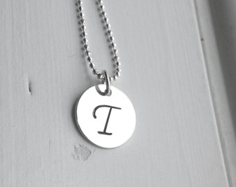 Sterling Silver Initial Necklace, Letter T Necklace, Personalized Jewelry, Capital T Necklace, Script Letter T Necklace, Initial Pendant