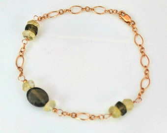 Citrine & Smoky Quartz bracelet 14k rose gold-filled chain