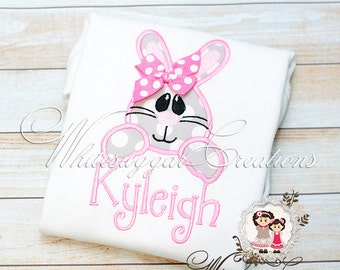 Baby Girl Easter Bunny Shirt, Easter Bunny Outfit - Easter Bunny Face Shirt for Girls - Easter Personalized Shirt for Girls