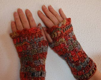 Fall color hand crocheted mittens