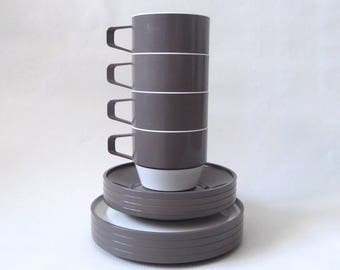 Ekco Nova 1967 set of four cups, saucers and side plates. Stackable plastic/melamine taupe brown/grey. David Harman Powell Habitat/Heals/V&A