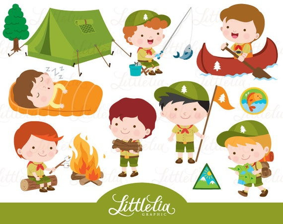 boys scout clipart boys camping clipart 17033 rh etsy com boy scout clipart free boy scout camping clipart