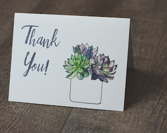 Succulent Thank You Greeting Card Printable