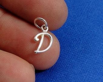 Script Letter D Initial Charm - Sterling Silver Cursive Letter D Alphabet Charm