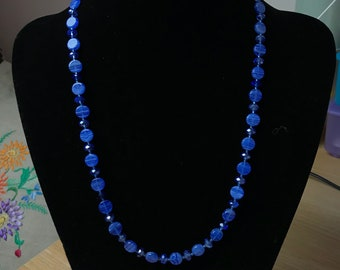 Glass Disc and Crystal Necklace