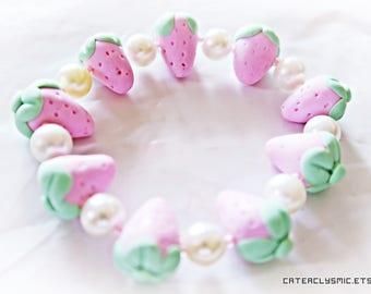 Pastel Pink Strawberry Bracelet