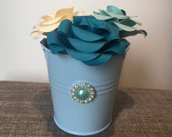 origami roses, blue roses, paper roses, bucket vase, paper flowers, blue and cream flowers, mini vase, origami, gift for her, home decor