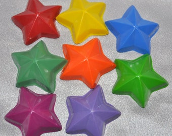 Star Crayons, Star Party Favors, Recycled Crayons Star Shaped Total of 8.  Boy or Girl Kids Unique Party Favors, Crayons.