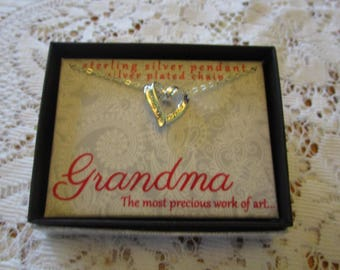 Grandma Necklace, Grandmother Necklace, Sterling Necklace, Sterling Pendant, Grandmother Gift, Heart Necklace, Floating Heart, Fine Jewelry