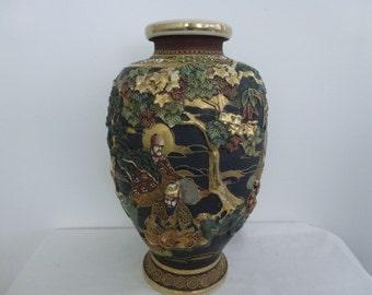 Large Japanese Moriage Vase