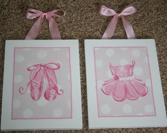 Girl's Set Of Two Ballet Tutu Dance PAINTINGS Canvas WALL ART