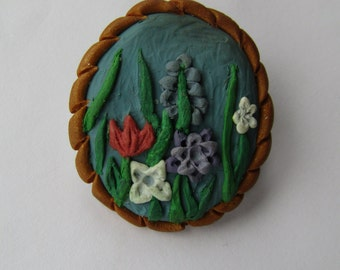 LAST CHANCE SALE: Spring flowers polymer clay brooch, charm also available