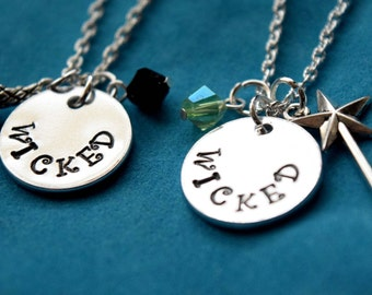 Wicked Necklace /One Set of 2 / Friendship Necklace / BFF / Wizard of OZ /