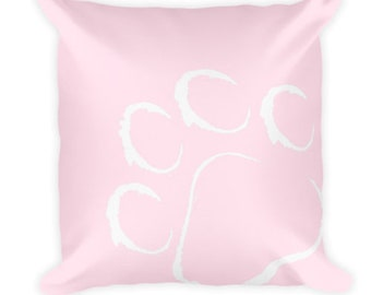 Pink Paw Print Cat Cushion - Light Pink - Cat - Cat Print - Paw Print- Cat Paws - Cat Art Print - Throw Cushion