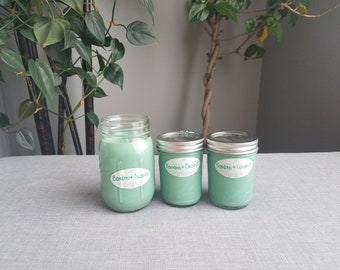 Bamboo Coconut 8 oz Soy Candle, Mason Jar Candle, Summer Candle, Soy Candle