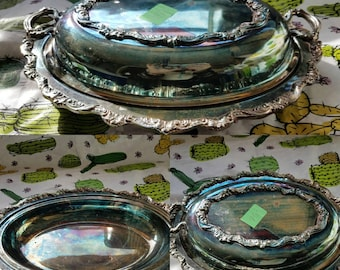 Vintage Silver Serving Platter with Lid