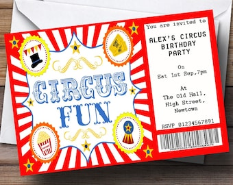 Red Circus Ticket Theme Personalised Birthday Party Invitations