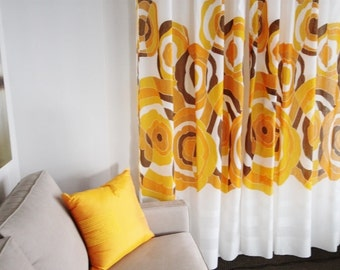 Retro psychedelic Flowers//new Old Stock//Washable Sheer Voile Curtain Panels//Yellow Orange Brown//Made-to-order//Cellophane Flowers