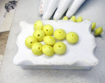Vintage Japan Plastic Beads - 10 Rustic Yellow Saucer Beads - 10mm - Butter Yellow Rounded Bicone Beads - Mid Century Sunny Spacer Beads
