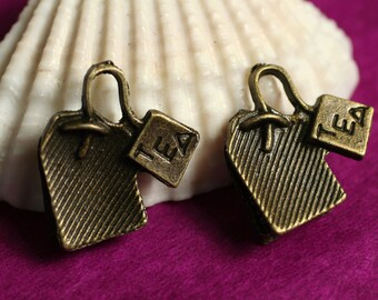 Antique brass tea time charm 15x15mm, select your quantity (item ID YDTEAD)