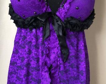 Deep purple lace babydoll set